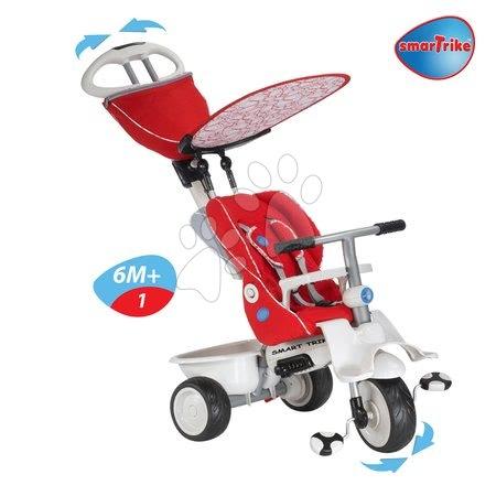 - Tricikli Recliner 4in1 smarTrike dönthető háttámlával és esővédővel bordópiros-szürke 6 hó-tól