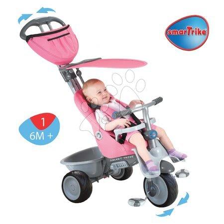 - Tricikli Recliner 4in1 smarTrike dönthető háttámlával rózsaszín-szürke 6 hó-tól