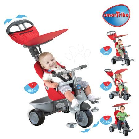 Trojkolka pre deti Recliner 4v1 smarTrike s polohovateľnou opierkou od 6 mesiacov červeno-šedá