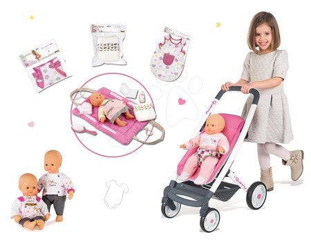 Kočík hlboký a športový retro Maxi Cosi&Quinny Smoby 3v1 s nosítkom pre bábiku+bábika+nočný úbor+prebaľovacia podložka+klokan