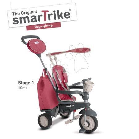 Tricikli Voyage Touch Steering 4in1 smarTrike 2 táskával és napellenzővel piros-szürke 10 hó-tól