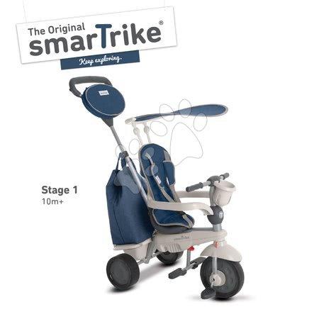 Tříkolka Voyage Touch Steering 4v1 smarTrike s 2 taškami a sluneční clonou od 10-36 měsíců modro-šedá