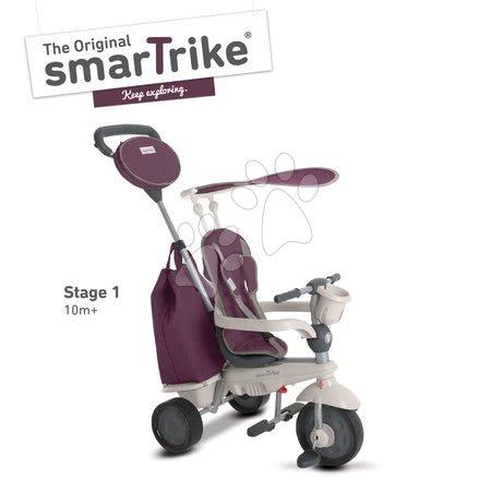 Tricikli Voyage Touch Steering 4in1 smarTrike gumi kerekekkel és lengéscsillapítóval és üvegtartóval lila 10 hó-tól