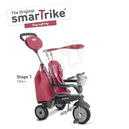 Tricicletă Voyage 4in1 TouchSteering smaTrike cu roţi din cauciuc şi amortizor roşie de la 10 luni