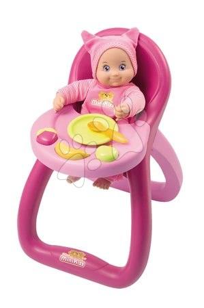 Jedálenská stolička MiniKiss Baby Smoby pre 27 cm bábiku so zvukom Mňam Mňam s doplnkami