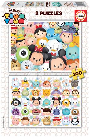 Detské puzzle od 100-300 dielov - Puzzle Disney Tsum Tsum Educa 2x100 dielov od 5 rokov