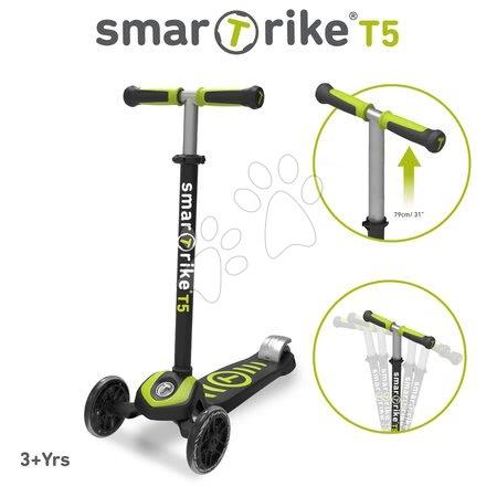 Trotinete - Trotinetă T5 smarTrike cu sistem T-lock şi cu mâner reglabil negru-verde