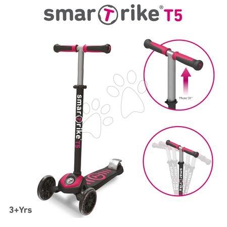 Roller T5 smarTrike T-lock rendszerrel és állítható kormánnyal fekete-ciklámen