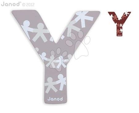 Drevené písmeno Y ABCDeco Janod lepiace 10 cm sivé/hnedé od 3 rokov