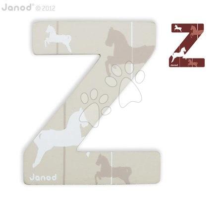 Drevené písmeno Z ABCDeco Janod lepiace 9 cm béžové/hnedé od 3 rokov