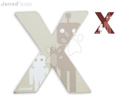 Drevené písmeno X ABCDeco Janod lepiace 10 cm béžové/hnedé od 3 rokov