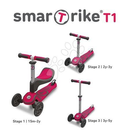 Trotinete - Trotinetă şi babytaxiu T1 smarTrike 3in1 cu sistem T-lock, cu scaun reglabil şi cu ghidon gri-roz de la 15 luni