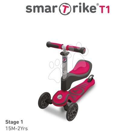 Trotinete - Trotinetă şi babytaxiu T1 smarTrike 3in1 cu sistem T-lock, cu scaun reglabil şi cu ghidon gri-roz de la 15 luni_1
