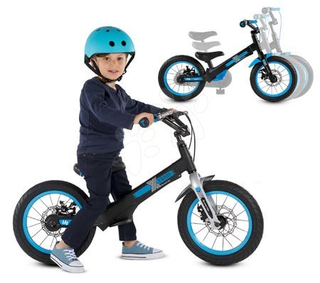 Bicicletă Xtend Mg+Bike Black Blue smarTrike cadru extensibil din magneziu și 2 frâne cu disc de la 3-7 ani