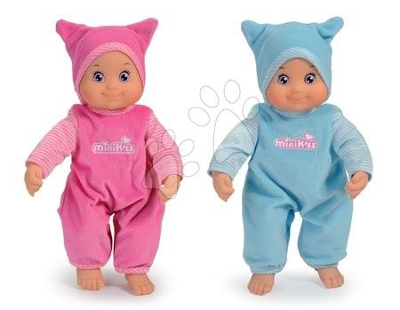 Panenky od 9 měsíců - Panenka se zvukem MiniKiss Smoby v čepičce 27 cm 2 kusy modrá/růžová od 12 měsíců