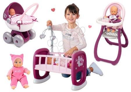 Bábiky s doplnkami sety - Set bábika Minikiss Smoby 27 cm jedálenská stolička kolíska s kolotočom a hlboký kočík pre bábiku (56 cm rúčka) od 18 mes