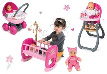 Komplet dojenček Minikiss Smoby 27 cm, stolček za hranjenje, zibka z rjuho in globok voziček za dojenčka (56 cm ročaj) od 18 mes