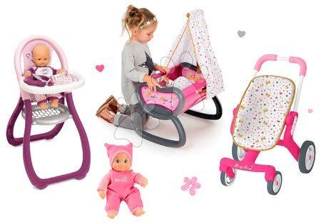 Set panenka Minikiss Smoby 27 cm, jídelní židle, kolébka s baldachýnem a kočárek pro panenku (53,5 cm rukojeť) od 18 měsíců