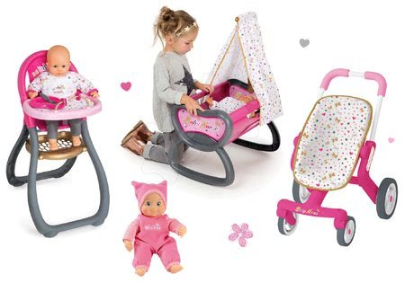 Komplet dojenček Minikiss Smoby 27 cm, stolček za hranjenje, zibka z baldahinom in voziček za dojenčka (53,5 cm ročaj) od 18 mes