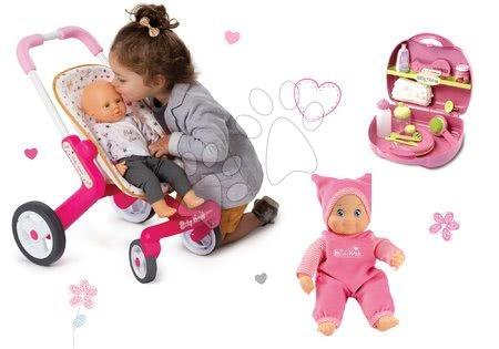 Bábiky s doplnkami sety - Set bábika Minikiss Smoby 27 cm, prebaľovací set v kufríku a kočík pre bábiku (53,5 cm rúčka) od 18 mes