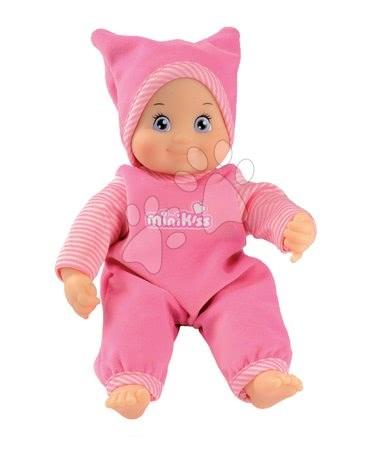 Panenky od 9 měsíců - Panenka se zvukem pro nejmenší MiniKiss Smoby růžová v čepičce, výška 27 cm od 12 měsíců