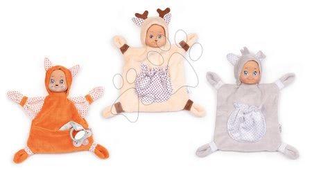 Hračky do postieľky  - Sada 3 zvieratiek na maznanie Animal Doll MiniKiss Smoby 20 cm z jemného mäkkého textilu od 0 mes