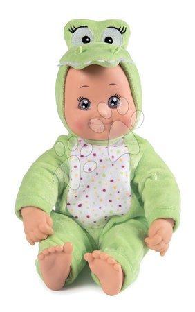 Panenky od 9 měsíců - Panenka v kostýmu Krokodýl MiniKiss Croc Smoby zelený se zvukem polibku s měkkým tělíčkem od 12 měsíců