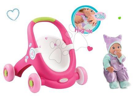 Komplet voziček za dojenčka in sprehajalček 2v1 MiniKiss Smoby in dojenček z zvokom MiniKiss v pajacku