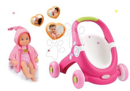 Komplet voziček za dojenčka in sprehajalček 2v1 MiniKiss Smoby in dojenček z zvokom za kopanje