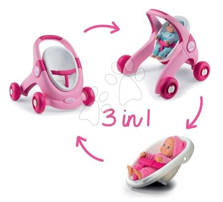 Minnie Mouse - Set chodítko a kočárek pro panenku 3v1 MiniKiss Smoby s pečovatelským pultem se židlí a kolébka s vaničkou_1