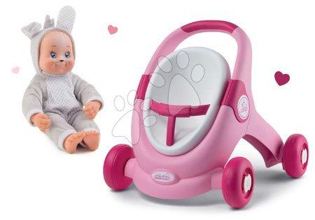 Hračky pro nejmenší - Set chodítko a kočárek s autosedačkou Minikiss 3v1 Smoby s brzdou a panenka Zajíček Lesní Zvířátka se zvukem