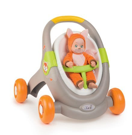 Dětská chodítka - Chodítko a kočárek s autosedačkou zvířátka Animal MiniKiss 3v1 Smoby s brzdou a bezpečnostním pásem od 12 měsíců