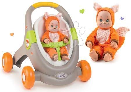 Hračky pro nejmenší - Set chodítko a kočárek s autosedačkou zvířátka Animal Minikiss 3v1 Smoby s brzdou a panenka Liška Lesní Zvířátka se zvukem