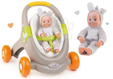 Hračky pro nejmenší - Set chodítko a kočárek s autosedačkou zvířátka Animal Minikiss 3v1 Smoby s brzdou a panenka Zajíček Lesní Zvířátka se zvukem