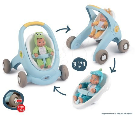 Dětská chodítka - Chodítko a kočárek pro panenku Croc Baby Walker MiniKiss 3in1 Smoby s brzdou a bezpečnostním pásem od 12 měsíců_1