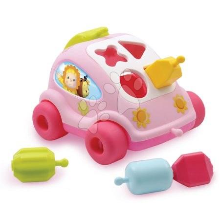Ťahacie hračky - Autíčko Chrobáčik Cotoons Smoby s kockami ružové od 12 mes