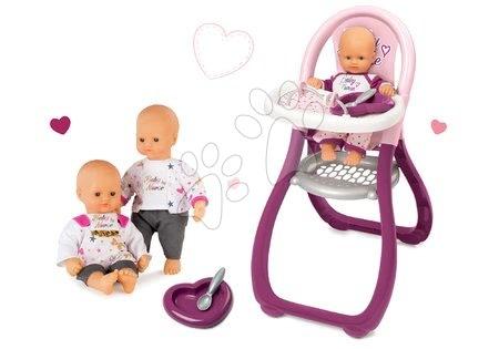 Bábiky s doplnkami sety - Set bábika Baby Nurse Zlatá edícia Smoby 32 cm a jedálenská stolička pre bábiku od 24 mes