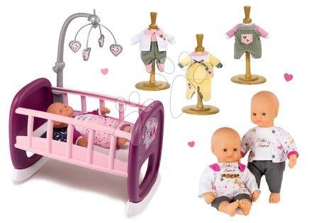 Bábiky s doplnkami sety - Set bábika Baby Nurse Zlatá edícia Smoby 32 cm, kolíska s kolotočom a 3 šaty od 24 mes
