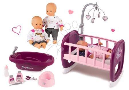 Bábiky s doplnkami sety - Set bábika Baby Nurse Zlatá edícia Smoby 32 cm, kolíska s kolotočom a vanička pre bábiku