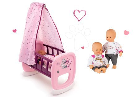 Bábiky s doplnkami sety - Set bábika Baby Nurse Zlatá edícia Smoby 32 cm a kolíska pre bábiku s baldachýnom