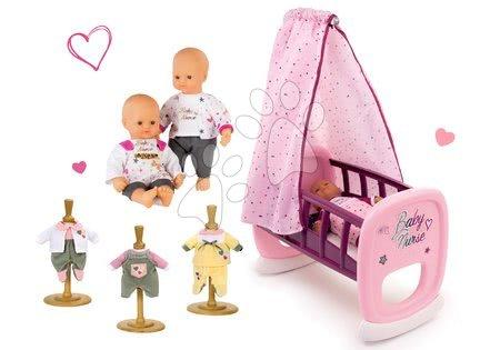 Bábiky s doplnkami sety - Set bábika Baby Nurse Zlatá edícia Smoby 32 cm, kolíska s baldachýnom a 3 šaty