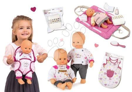 Bábiky s doplnkami sety - Set bábika Baby Nurse Zlatá edícia Smoby 32 cm, nočný úbor, prebaľovacia podložka, klokanka a sada plienok