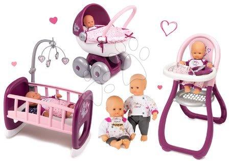 Bábiky s doplnkami sety - Set bábika Baby Nurse Zlatá edícia Smoby 32 cm, jedálenská stolička, hlboký kočík a kolíska s perinkou od 24 mes