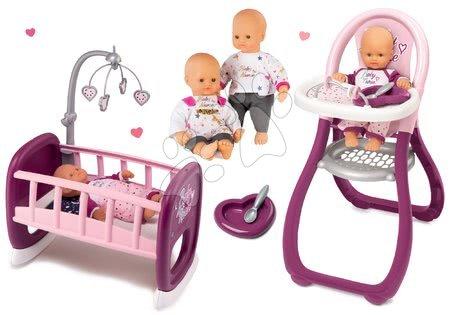 Bábiky s doplnkami sety - Set bábika Baby Nurse Zlatá edícia Smoby 32 cm, jedálenská stolička a kolíska pre bábiku s kolotočom od 24 mes