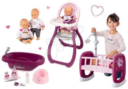 Bábiky s doplnkami sety - Set bábika Baby Nurse Zlatá edícia Smoby 32 cm, jedálenská stolička, kolíska pre bábiku a vanicka od 24 mes
