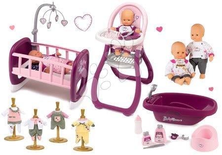 Bábiky s doplnkami sety - Set bábika Baby Nurse Zlatá edícia Smoby 32 cm, jedálenská stolička, kolíska, vanička a 1 šaty pre bábiku od 24 mes