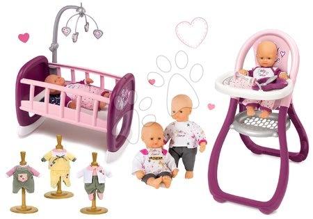 Bábiky s doplnkami sety - Set bábika Baby Nurse Zlatá edícia Smoby 32 cm, jedálenská stolička, kolíska s kolotočom a 3 šaty pre bábiku od 24 mes