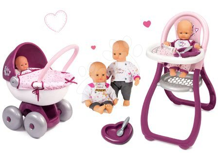 Bábiky s doplnkami sety - Set bábika Baby Nurse Zlatá edícia Smoby 32 cm, jedálenská stolička a hlboký kočík pre bábiku od 24 mes
