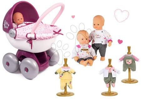 Bábiky s doplnkami sety - Set bábika Baby Nurse Zlatá edícia Smoby 32 cm, hlboký kočík pre bábiku a 3 šaty od 24 mes