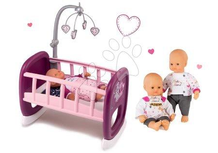 Bábiky s doplnkami sety - Set bábika Baby Nurse Zlatá edícia Smoby 32 cm a kolíska pre bábiku s kolotočom od 24 mes